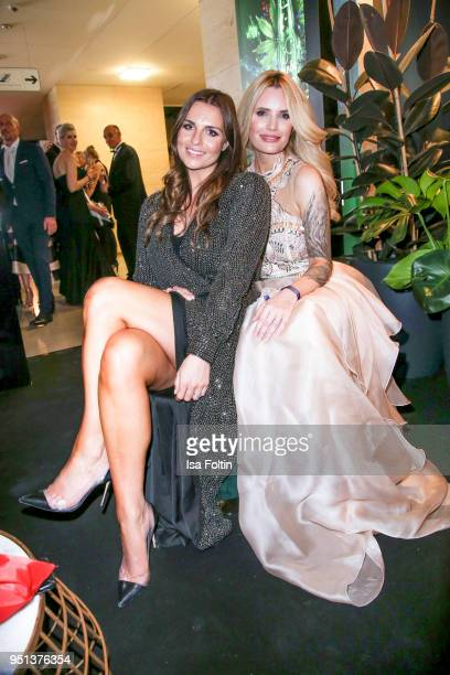 German presenter Laura Wontorra and German actress Mirja du Mont during the after show party of Duftstars at Flughafen Tempelhof on April 25 2018 in...