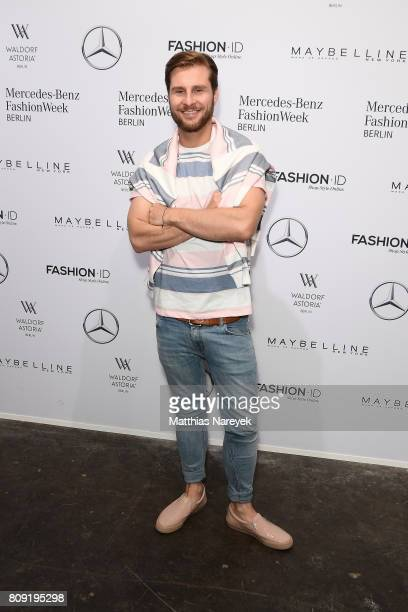 German presenter Maurice Gajda attends the Rebekka Ruetz show during the MercedesBenz Fashion Week Berlin Spring/Summer 2018 at Kaufhaus Jandorf on...