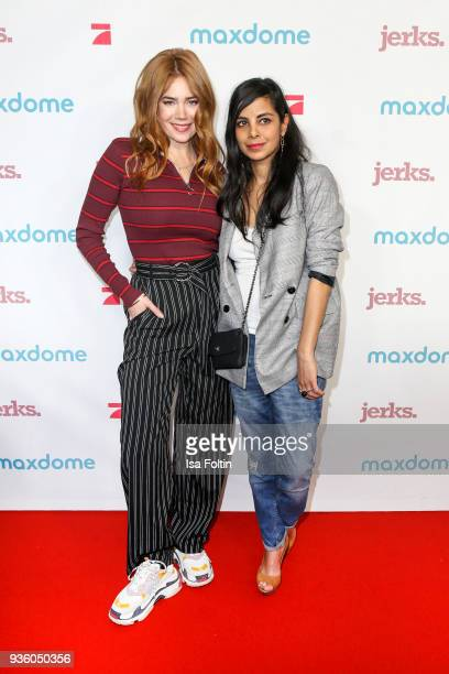 German presenter model and actress Palina Rojinski and German presenter Collien UlmenFernandes during the 'Jerks' premiere at Zoo Palast on March 21...