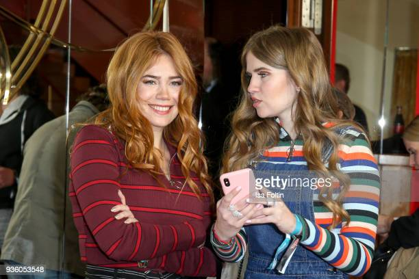 German presenter model and actress Palina Rojinski and her sister Vivienne Maria Rojinski during the 'Jerks' premiere at Zoo Palast on March 21 2018...