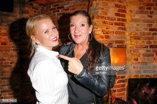 German presenter Nova Meierhenrich and German actress Katy Karrenbauer during the host of Annabelle Mandengs Ladies Dinner at Hotel Zoo on July 2...