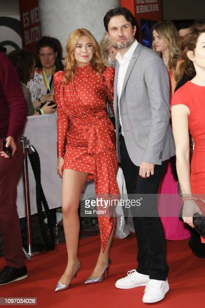 German presenter Palina Rojinski and Austrian actor Simon Verhoeven attends the Medienboard BerlinBrandenburg Reception on the occasion of the 69th...
