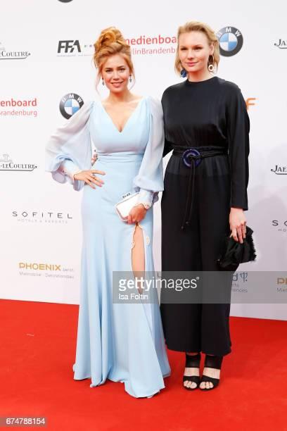German presenter Palina Rojinski and german actress Rosalie Thomass during the Lola German Film Award red carpet arrivals at Messe Berlin on April 28...