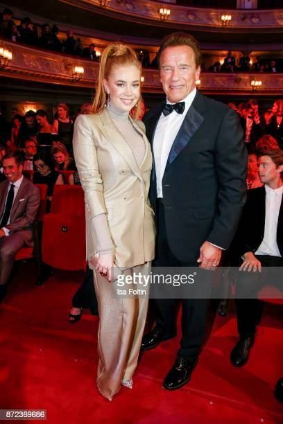 German presenter Palina Rojinski and US actor Arnold Schwarzenegger during the GQ Men of the year Award 2017 show at Komische Oper on November 9 2017...