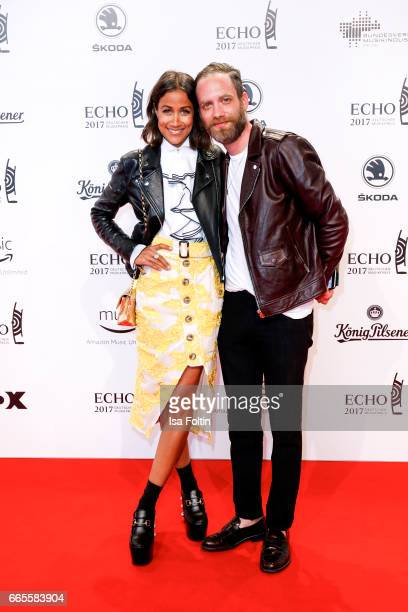 German presenter Rabea Schif and her husband David Gergely during the Echo award red carpet on April 6 2017 in Berlin Germany