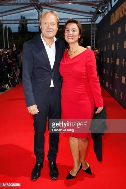 German presenter Sandra Maischberger and her husband Jan Kerhart attend the UFA 100th anniversary celebration at Palais am Funkturm on September 15...