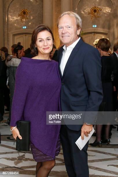 German presenter Sandra Maischberger and her husband Jan Kerhart during the ReOpening of the Staatsoper Unter den Linden on October 3 2017 in Berlin...