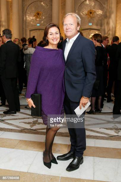 German presenter Sandra Maischberger and her husband Jan Kerhart during the ReOpening of the Staatsoper Unter den Linden on October 3 2017 in Berlin...