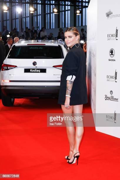 German presenter Sophia Thomalla during the Echo award red carpet on April 6 2017 in Berlin Germany