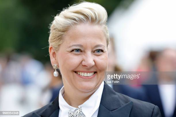 German presenter Stephanie Birnthaler attends the Thurn Taxis Castle Festival 2018 'Tosca' Opera Premiere on July 13 2018 in Regensburg Germany