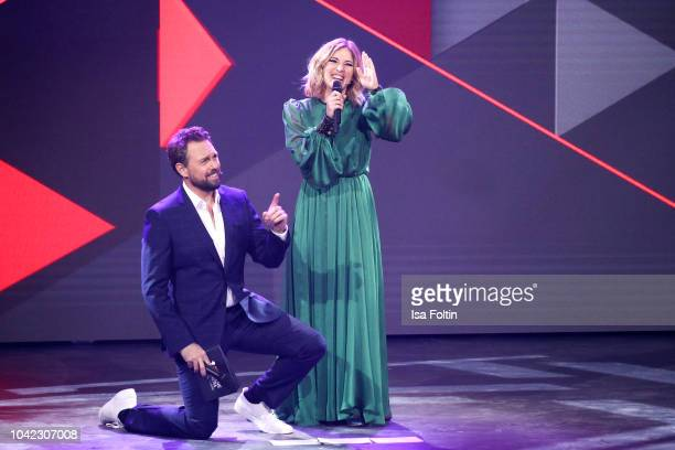 German presenter Steven Gaetjen and German presenter Jeannine Michaelsen during the YouTube Goldene Kamera Digital Award at Kraftwerk Mitte on...