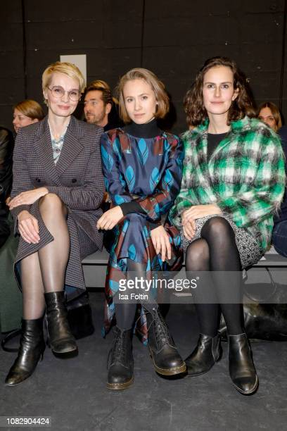 German presenter Susann Atwell German actress Alina Levshin and German actress Saralisa Volm attend the Odeeh Defile during the Berlin Fashion Week...