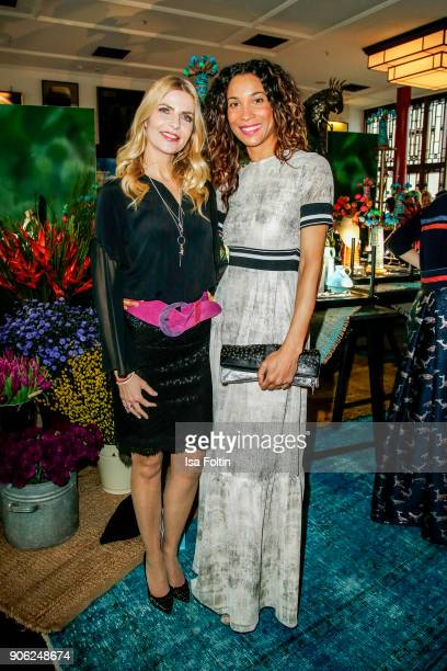 German presenter Tanja Buelter and German presenter Annabelle Mandeng attend the Thomas Sabo Press Cocktail during the MercedesBenz Fashion Week...