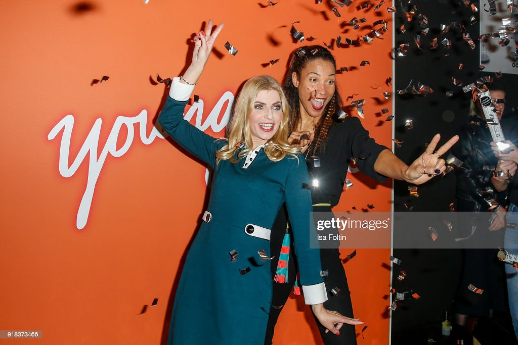 German presenter Tanja Buelter and German presenter Annabelle Mandeng attend the Young ICONs Award in cooperation with ICONIST at BRLO Brwhouse on February 14, 2018 in Berlin, Germany.