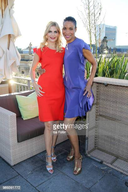German presenter Tanja Buelter and German presenter Annabelle Mandeng during the Ladies Dinner at Hotel De Rome on July 1 2018 in Berlin Germany