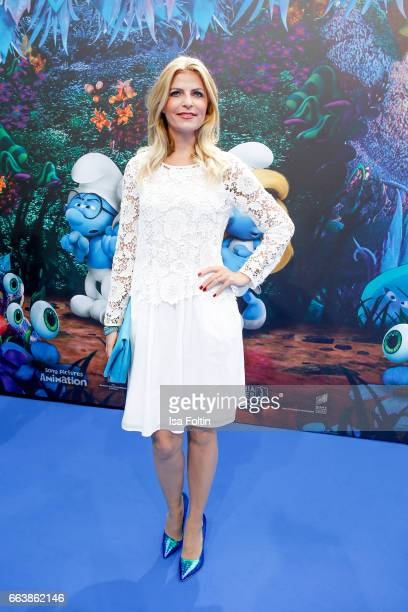 German presenter Tanja Buelter during the 'Die Schluempfe Das verlorene Dorf' premiere at Sony Centre on April 2 2017 in Berlin Germany