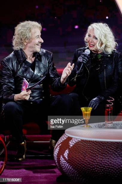 German presenter Thomas Gottschalk and British singer Kim Wilde at Gottschalks Grosse 80er Show on September 6 2019 in Hanover Germany