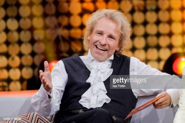 German presenter Thomas Gottschalk during the tv show 'Gottschalks grosse 68er Show' on September 6, 2018 in Hamburg, Germany.