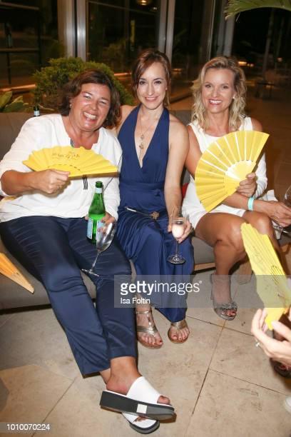 German presenter Vera IntVeen German actress Maike von Bremen and German presenter Carola Ferstl during the Remus Lifestyle Night on August 2 2018 in...