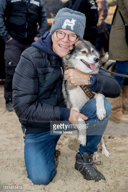 """German presenter Wolfgang Lippert participates in the sled dog race as part of the """"Baltic Lights"""" charity event on March 7, 2020 in Heringsdorf,..."""