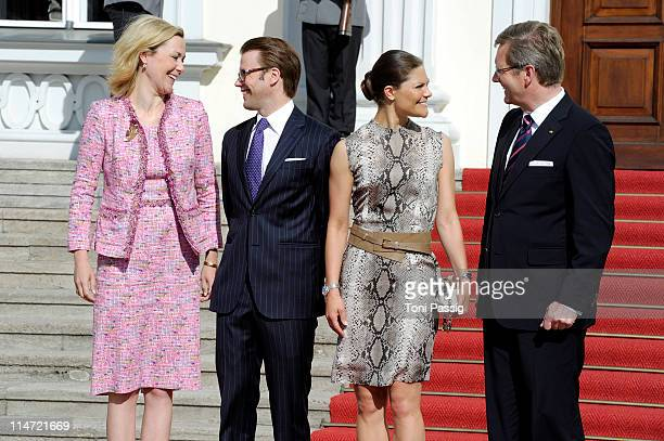 German President Christian Wulff and his wife Bettina welcome Crown Princess Victoria of Sweden and her husband Prince Daniel Duke of Vastergotland...