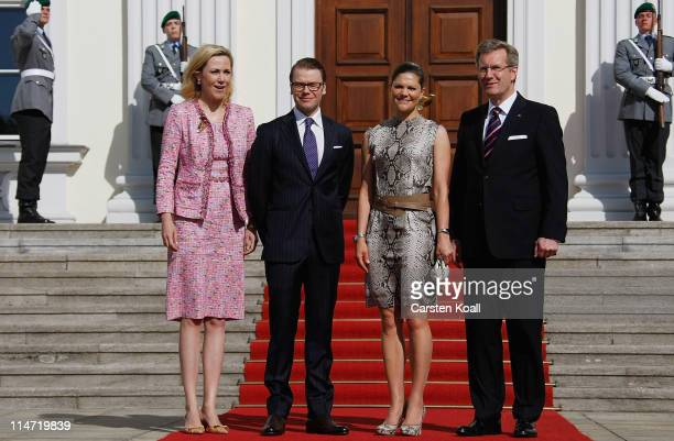 German President Christian Wulff and his wife Bettina welcomes Crown Princess Victoria of Sweden and her husband Prince Daniel Duke of Vastergotland...