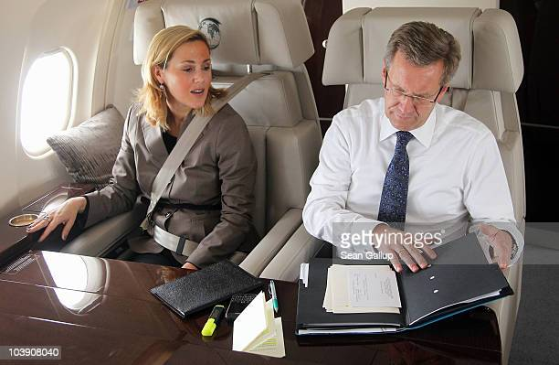 German President Christian Wulff and his wife First Lady Bettina Wulff fly in a government plane to Switzerland on September 8 2010 over Central...