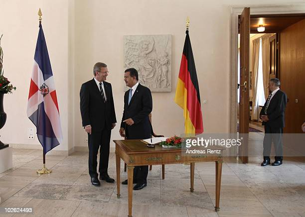 German President Christian Wulff chats with Leonel Fernandez Reyna President of the Dominican Republic upon Reyna's arrival at Schloss Bellevue...