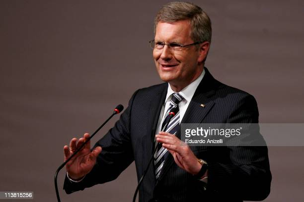 German president Christian Wulff gives a speech during a lunch with Brazilian entrepreneurs at the German Consulate as part of his visit to Sao...