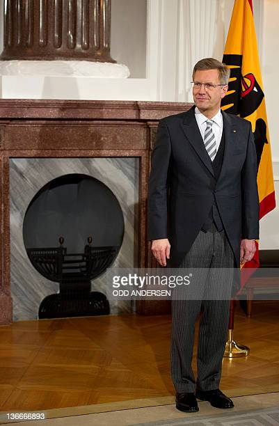 German President Christian Wulff is pictured during a greeting ceremony at Bellevue Palace in Berlin on January 10, 2012. The German President...