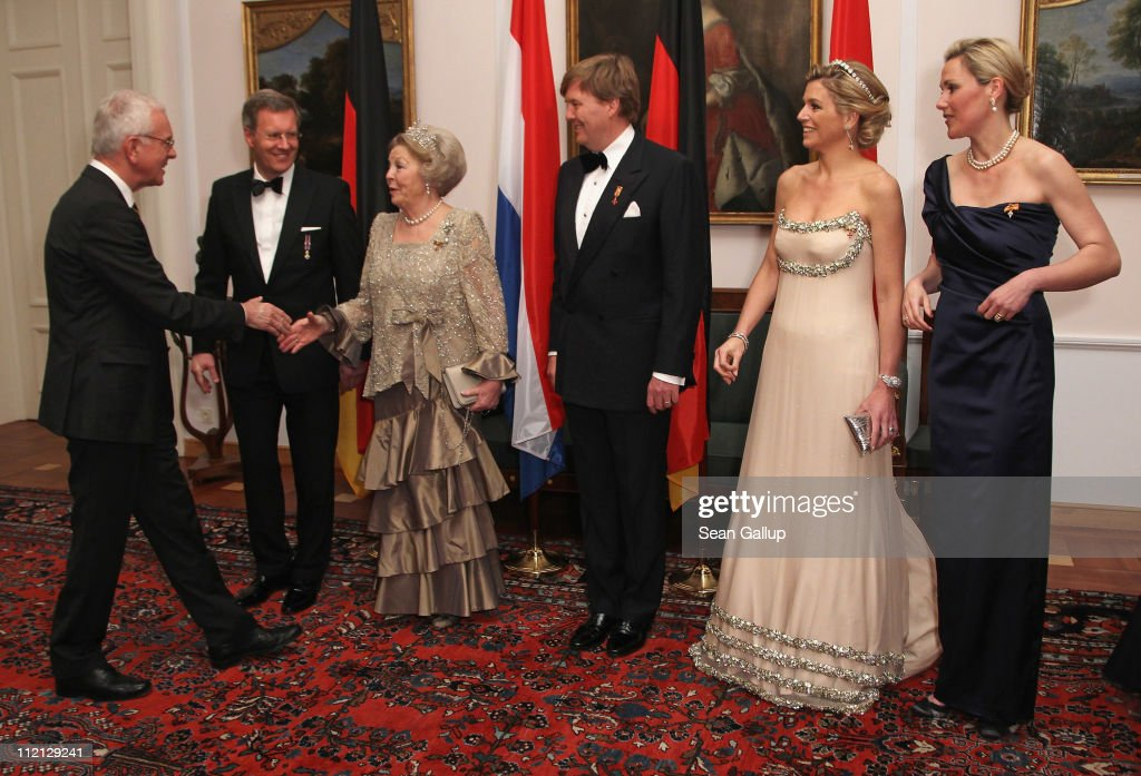 German President Christian Wulff, Queen Beatrix of the Netherlands, Prince Willem-Alexander of the Netherlands, Princess Maxima of the Netherlands and German First Lady Bettina Wulff greet former European Parliament President Hans-Gert Poettering as they attend a state banquet given in honour of the visiting Dutch royals at Bellevue Presidential Palace on April 12, 2011 in Berlin, Germany. The Dutch royals, including Queen Beatrix, Prince Willem-Alexander and Princess Maxima, are on a four-day visit to Germany that includes stops in Berlin, Dresden and Duesseldorf.