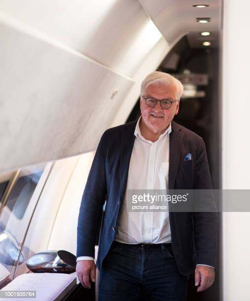 German President FrankWalter Steinmeier aboard the Bundeswehr Airbus A340 300 during the flight from Berlin to Astana in Kazakhstan 11 July 2017...