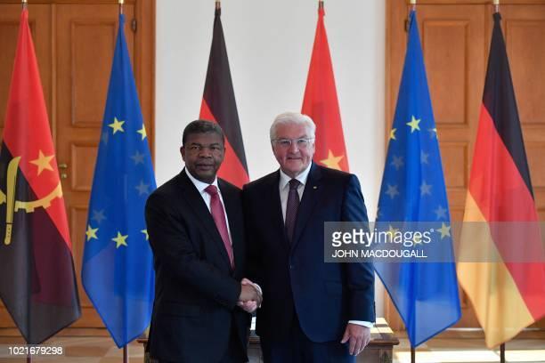 German President FrankWalter Steinmeier and Angolan President Joao Lourenco shake hands at the Schloss Bellevue presidential palace in Berlin prior...
