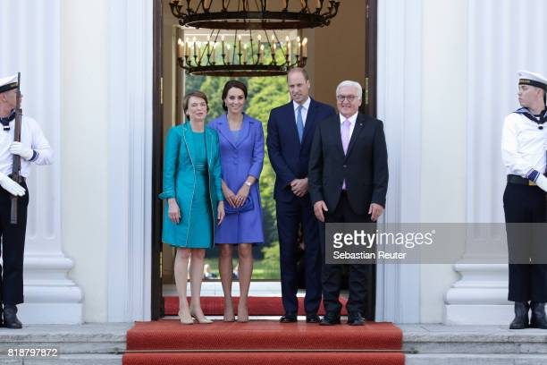 German President FrankWalter Steinmeier and First Lady Elke Buedenbender greet Catherine Duchess of Cambridge and Prince William Duke of Cambridge as...