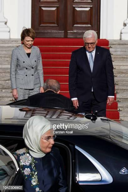 German President FrankWalter Steinmeier and First Lady Elke Buedenbender welcome Turkish President Recep Tayyip Erdogan and First Lady Ermine Erdogan...