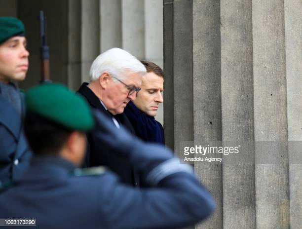 German President FrankWalter Steinmeier and French President Emmanuel Macron arrive for a wreath laying ceremony at the Neue Wache Memorial to mark...