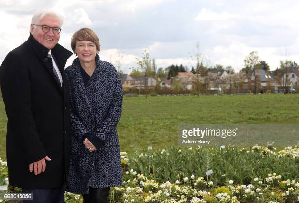 German President FrankWalter Steinmeier and his wife Elke Buedenbender attend the opening of the IGA International Garden Exhibition on April 13 2017...