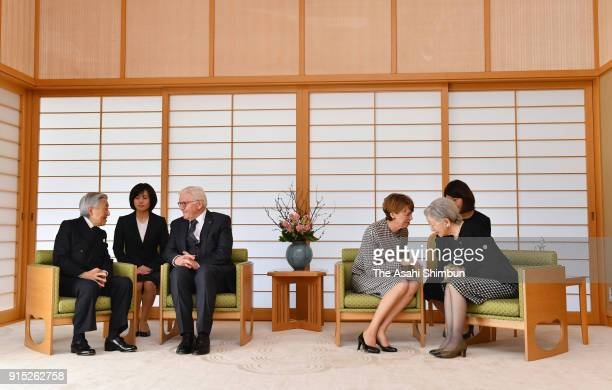 German President FrankWalter Steinmeier and his wife Elke Buedenbender talk with Emperor Akihito and Empress Michiko during their meeting at the...