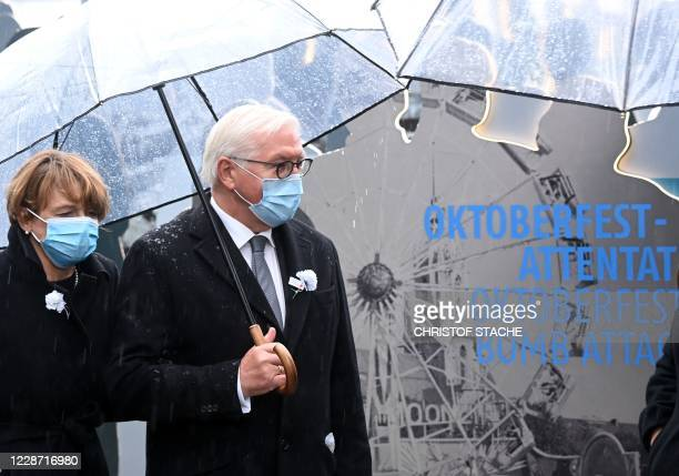 German President FrankWalter Steinmeier and his wife Elke Buedenbender visit the documentation exhibition during the 40th anniversary memorial event...