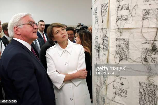 German President FrankWalter Steinmeier and his wife Elke Buedenbender visit the international art exhibition Documenta 14 at the National Museum of...