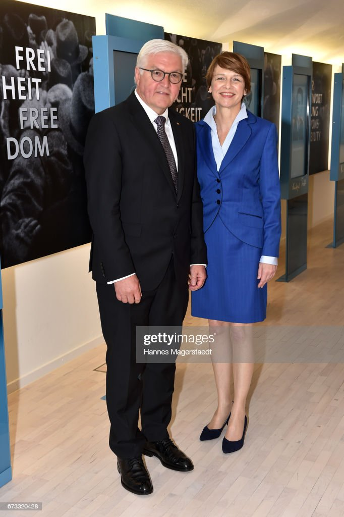 German President Frank-Walter Steinmeier and his wife Elke Buedenbender visit the memorial Weisse Rose at Ludwig-Maximilian-Universitaet on April 26, 2017 in Munich, Bavaria, Germany. German President Frank-Walter Steinmeier is on a two day visit in Bavaria.