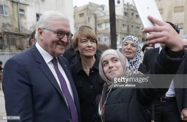 German president FrankWalter Steinmeier and his wife Elke Buedenbender visit the ArabicGerman AlQuds School in Amaan Jordan 28 January 2018 His five...