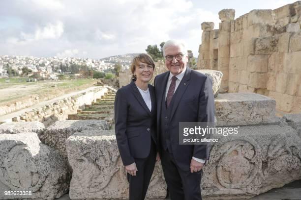 German president FrankWalter Steinmeier and his wife Elke Buedenbender visit the excavations in Gerasa Jordan 28 January 2018 His five day trip will...