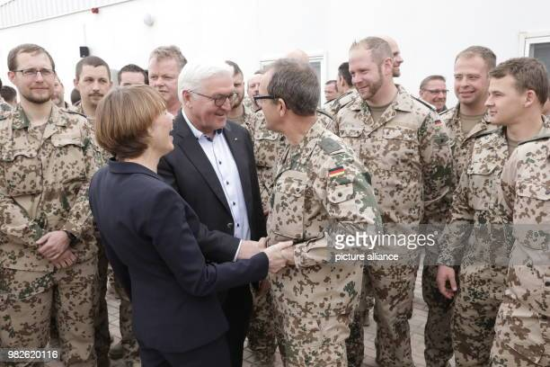 German President FrankWalter Steinmeier and his wife Elke Buedenbender visited the German mission contingent 'Counter Daesh' at a Jordanian Air Force...