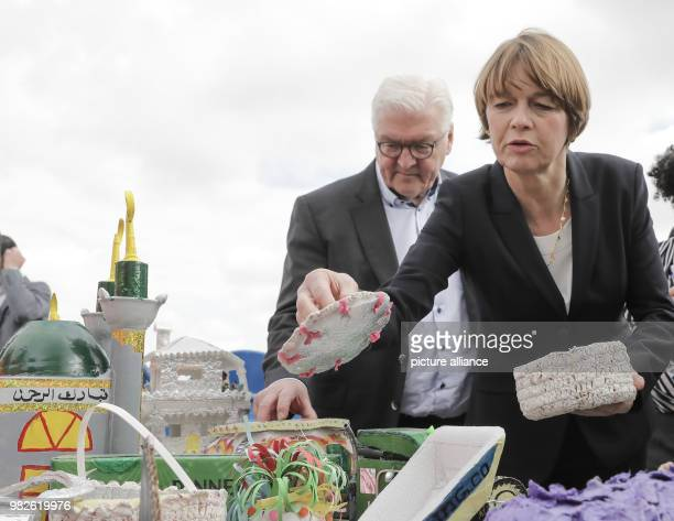 German President FrankWalter Steinmeier and his wife Elke Buedenbender visiting the project 'Generation of positive energy through waste' by...