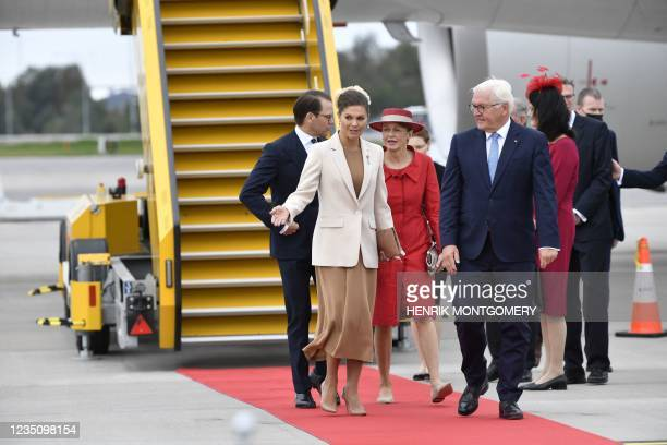German President Frank-Walter Steinmeier and his wife wife Elke Buedenbender are received by Sweden's Crown Princess Victoria and Prince Daniel at...