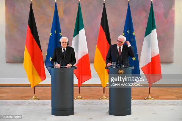 German President Frank-Walter Steinmeier and Italy's President Sergio Mattarella give a press conference during a visit at the presidential Bellevue...