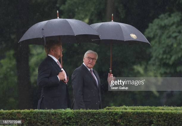 German President Frank-Walter Steinmeier and King Willem-Alexander of the Netherlands stand in the rain before reviewing a guard of honour at Castle...
