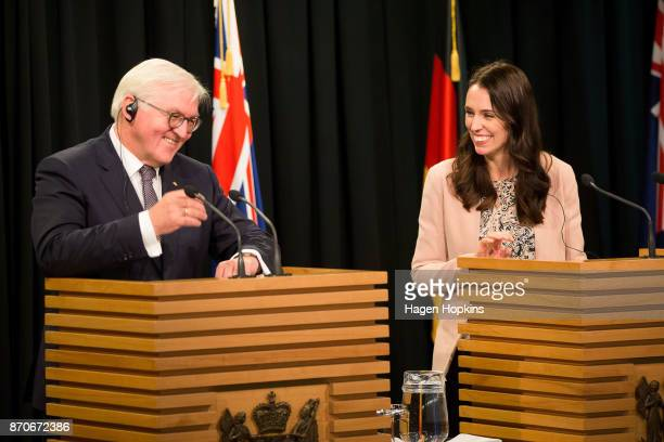 German President FrankWalter Steinmeier and New Zealand Prime Minister Jacinda Ardern speaks to media during a press conference at Parliament on...