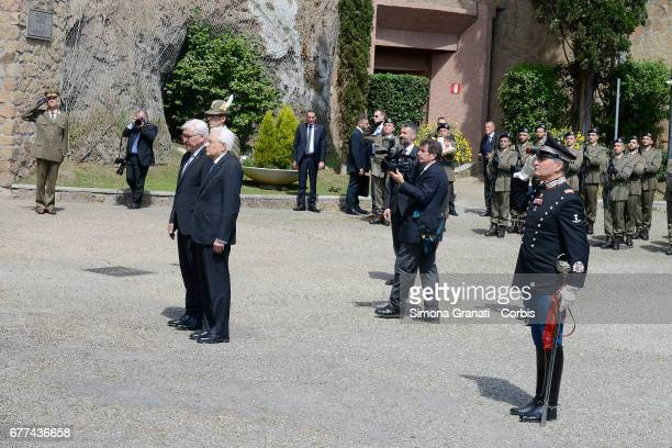 German President FrankWalter Steinmeier and the Italian President Sergio Mattarella pay tribute to the victims of the Ardeatine Massacre of 1944 in...